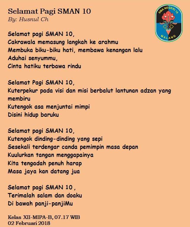 Puisi Ibu Kepala SMAN 10 Malang